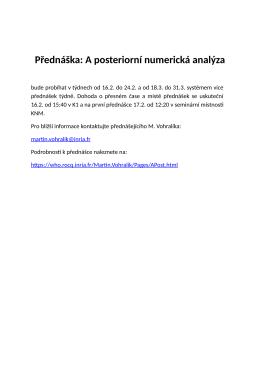 Přednáška: A posteriorní numerická analýza