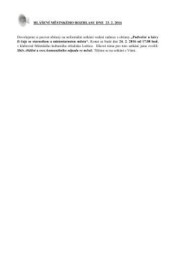 Hlášení městského rozhlasu dne 23.2.2016