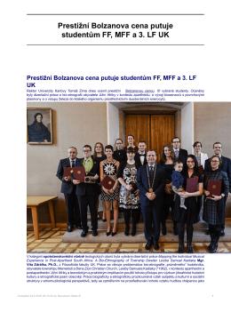 Prestižní Bolzanova cena putuje studentům FF, MFF a 3. LF UK