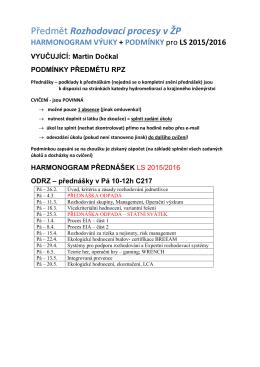 témata přednášek - Katedra hydromeliorací a krajinného inženýrství