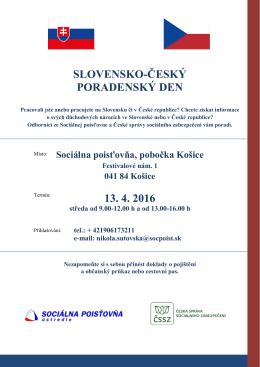 SLOVENSKO-ČESKÝ PORADENSKÝ DEN 13. 4. 2016