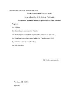 Oznámení o svolání zasedání ZO Vinařice