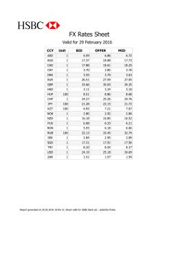 FX Rates Sheet