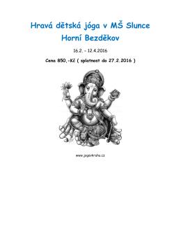 Hravá dětská jóga v MŠ Slunce Horní Bezděkov