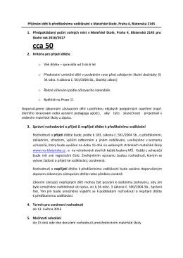 kriteria pro přijetí na rok 2016/2017