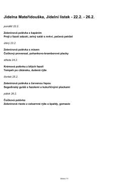 Jídelna Mateřídouška, Jídelní lístek - 22.2.