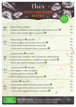 Týdenní menu Bistra Thir