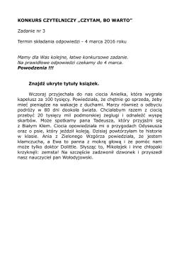 """KONKURS CZYTELNICZY """"CZYTAM, BO WARTO"""" Zadanie nr 3"""