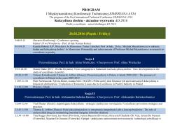 PROGRAM I Międzynarodowej Konferencji