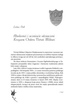 Absolwenci i uczniowie odznaczeni Krzyżem Orderu Virtuti Militari