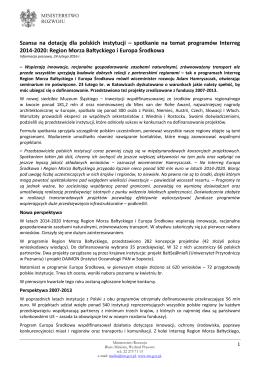 Informacja prasowa - Ministerstwo Rozwoju
