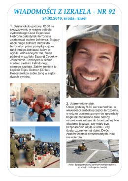 wiadomości z izraela nr 92 - Stowarzyszenie Służba Szalom Oświęcim