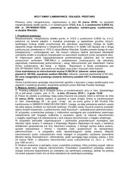 wójt gminy łambinowice ogłasza przetarg