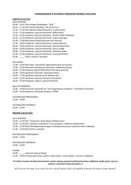 Harmonogram VI edycji Festiwalu Górskiego