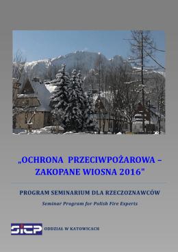 """""""OCHRONA PRZECIWPOŻAROWA – ZAKOPANE WIOSNA 2016"""""""