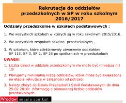 Rekrutacja do oddziałów przedszkolnych w szkołach podstawowych