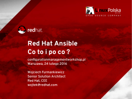 Red Hat Ansible Co to i po co - CONFIGURATION MANAGMENT