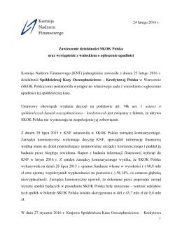 Komunikat KNF o zawieszeniu działalności Kasy i