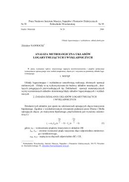 analiza metrologiczna układów logarytmujących i wykładniczych