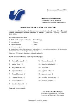 Wyniki sondażu wyborczego na funkcję rektora Uniwersytetu