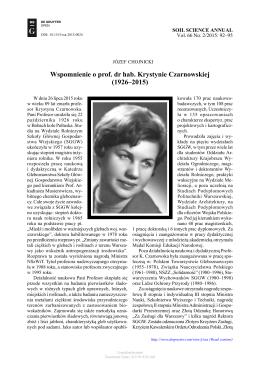 Wspomnienie o prof. dr hab. Krystynie Czarnowskiej