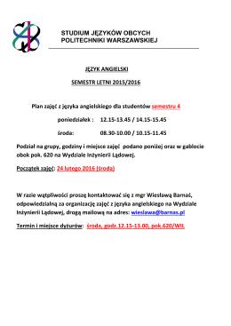 Podział na grupy w sem. letnim 2015/16