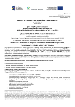 ogłoszeniem o naborze wniosków o dofinansowanie