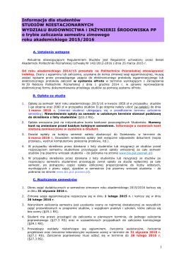 Informacja dla studentów - Wydział Budownictwa i Inżynierii