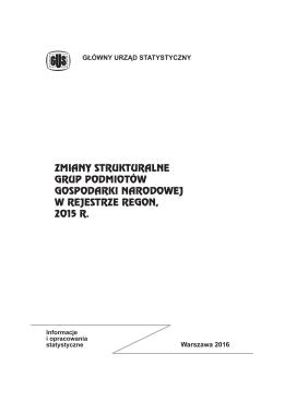 Zmiany strukturalne grup podmiotów gospodarki narodowej w