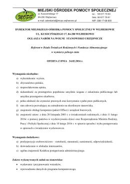 Ogłoszenie o naborze na wolne stanowisko urzędnicze – plik PDF.