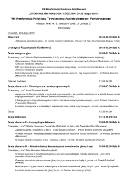 Program konferencji ORL_Lodz_2016
