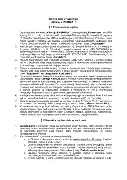 """REGULAMIN KONKURSU """"Kibicuj z ENERGIĄ+"""""""