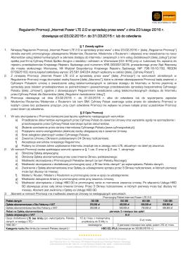Regulamin Promocji Internet Power LTE 2.0 w