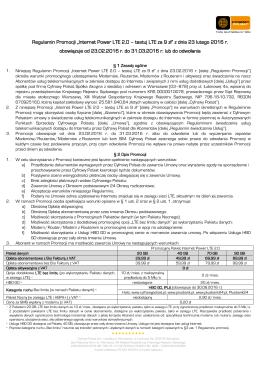 Regulamin Promocji Internet Power LTE 2.0 - testuj