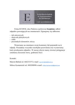 Firma ECOFOL chce Państwu zaoferować bezpłatny odbiór