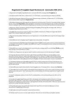 Regulamin - Juwenalia UEK 2015