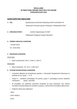 Program zawodów - XII Światowe Zimowe Igrzyska Polonijne