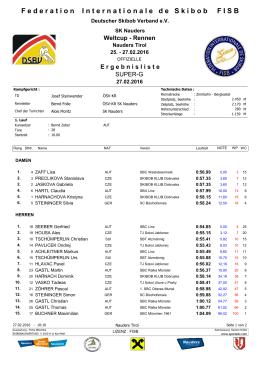 WC Nauders, Ergebnisliste SG, 27.02.16