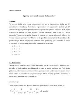Marian Maciocha Sparing – rozwiązanie zadania