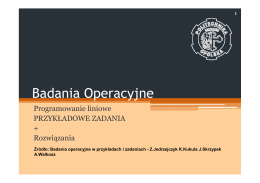 Badania Operacyjne Badania Operacyjne