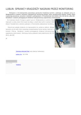 lublin: sprawcy kradzieży nagrani przez monitoring