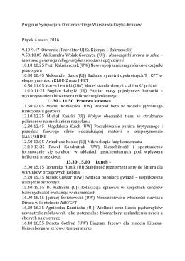 Program Sympozjum Doktoranckiego Warszawa-Fizyka