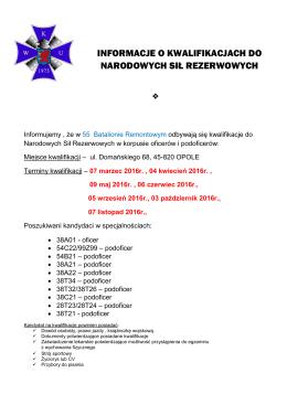 informacje o kwalifikacjach do narodowych sił rezerwowych