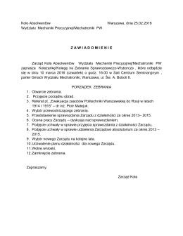 Zebranie Sprawozdawczo-Wyborcze Zarząd Koła Absolwentów