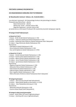 Protokół Eliminacji Rejonowych. XIII Krakowski Konkurs Recytatorski