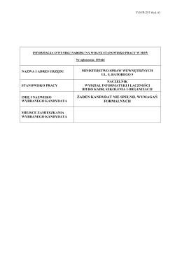 Informacja o wyniku naboru na wolne stanowisko pracy Naczelnika