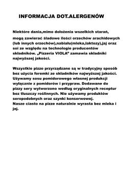 Info o alergenach - Viola – pizzeria Częstochowa
