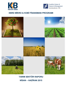 Tarım Sektör Raporu Nisan - Haziran 2015