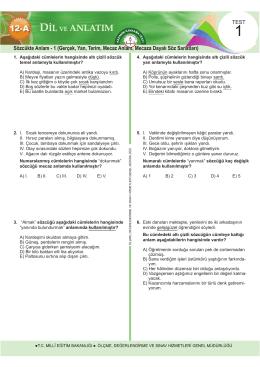 Dil ve Anlatım Testleri Bölüm 1 15 Test
