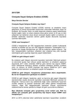 2015 İGR Cinsiyete Dayalı Gelişme Endeksi (CDGE)